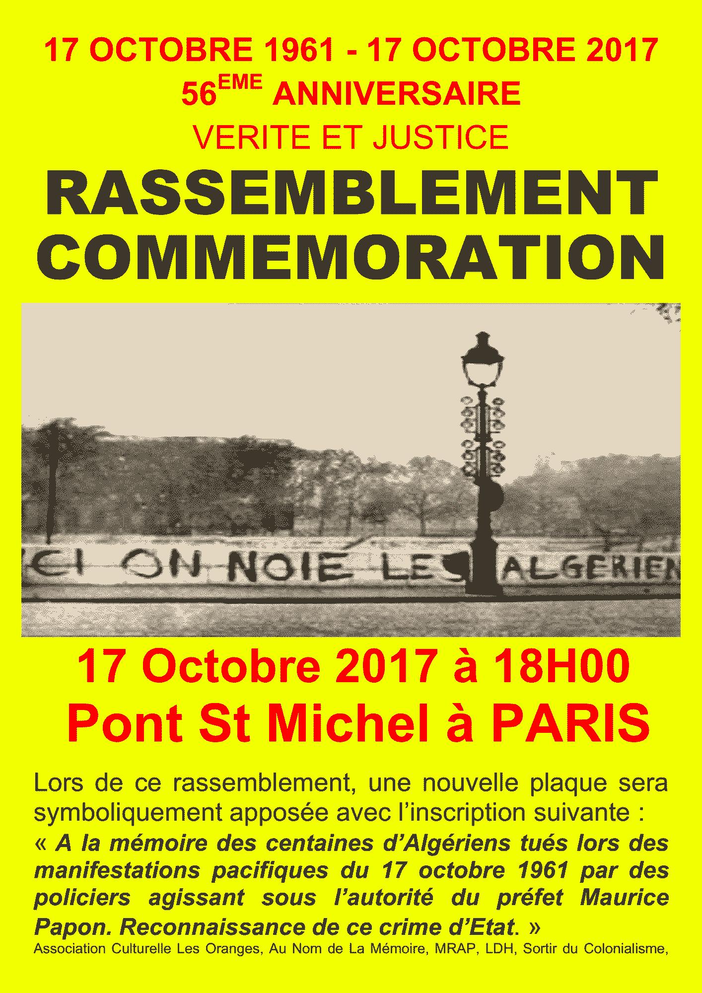 Commemoration 17 octobre octobre paris - Expo paris octobre 2017 ...